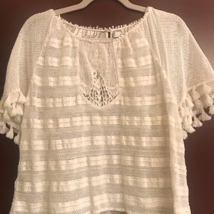 Zara crocheted white short sleeve top